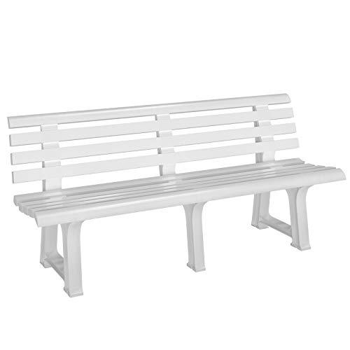Casaria Banco de jardín Blanco Resistente a la Intemperie para 3 Personas 145x49x74 cm de plástico Duradero con Respaldo