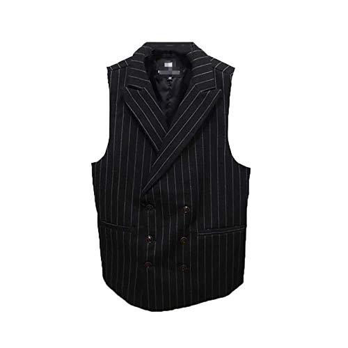 Chaleco retro para hombre con cuello de traje de moda británico doble botonadura chaqueta chaleco juvenil sin mangas