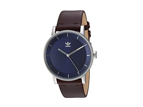 adidas Relojes Hombre District_L1.Genuine Correa De Cuero Watch, 20 Mm Anchura (0,40 Mm) De Plata/Azul Marino Sunray/Café Oscuro