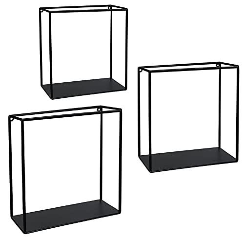 Stonebroo Cubo Estantes de Pared Metálicos, Juego de 3 Estantes Flotantes, 32/30/28cm, para Sala de Estar, Cocina, Dormitorio, Baño, Negro LBJ10B