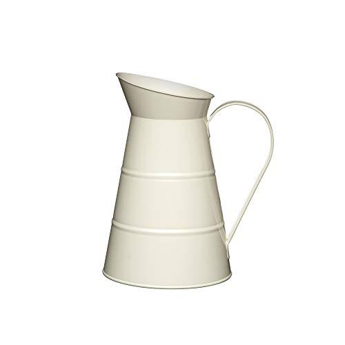 KitchenCraft Living Nostalgia Großer Metallkrug, Krug für Wasser, Limonade, Cocktails und Saft, Vase im Vintage-Stil 2,3 l – Antique Cream