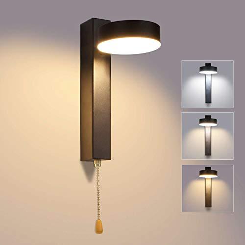 Lightess Dimmbare Wandlampe LED 12W Wandleuchte Innen Dimmbar Modern Vintage mit Schalter 360°+180°Drehbar Wandbeleuchtung Wandlicht Beleuchtung, Schwarz