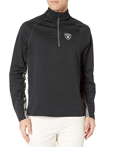 OTS NFL Oakland Raiders Men's Poly Fleece 1/4-Zip Pullover, Logo, Large