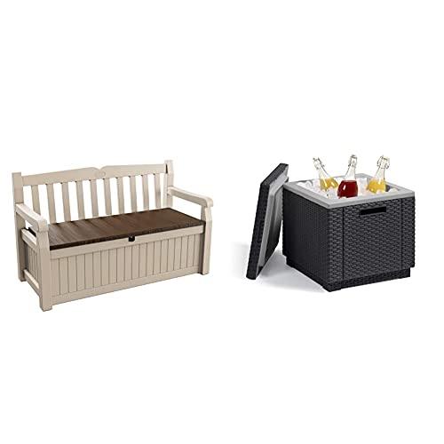 Keter Eden Garden Bench Banco Arcón Exterior, Capacidad 265 L, Color Marrón Y Beige + Ice Cube Mesa Nevera para Jardín, Grafito