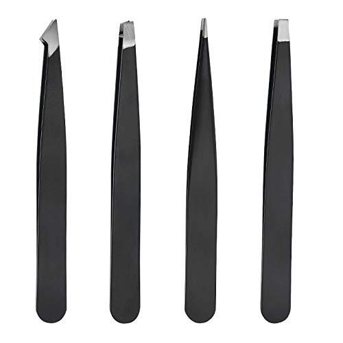 Pinzetten-Set - 4 Stück Professionelle Edelstahl-Pinzette, Augenbrauenformer Beste Präzisionspinzette für Augenbrauen, Splitter & eingewachsene Haare entfernen mit Leder-Reiseetui