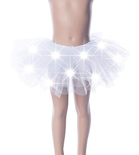 FEOYA Mädchen Tüll Minirock mit LED Licht Balletrock Kurz Rock Elastic Bund Tutu Tanz Rock