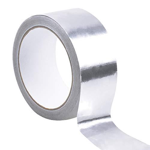 Cinta de Aluminio, Cinta Adhesiva de Aluminio, Cinta de Papel Aluminio, Cinta Aislante Autoadhesiva, Cinta de Térmica Resistente al Calor, Cinta Metálica para Reparaciones Aislamiento 50mm x 20m