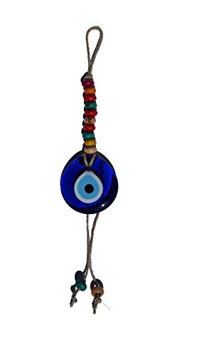 Glass Evil Eye Bead Lucky Blue Charm Talisman Eyes and Colored Beads Attached to Jut Rope Turkish Glass Amulet Wall Hanging Decorative Hanging Ornament Gift Idea 11 inches Tall