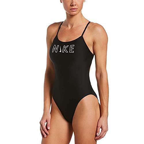 Nike Cutout One Piece Costume da Bagno Donna, Donna, Costume da Bagno, NESSB131-001, Nero, 38