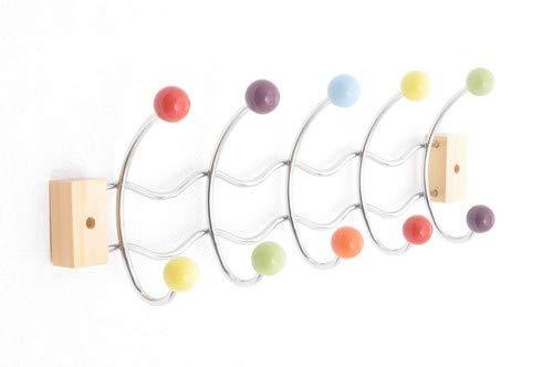 Home Soluzioni Appendiabiti Muro Porta Finitura cromata 10 Telaio e Sfere in Ceramica Colorata.