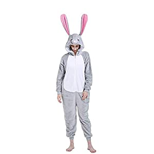 Fleece adult onesie, ultra-soft, warm, cozy and colorful. Adorable animal costume featured a hood with animal face and tail. Novelty one-piece pajama perfect for parties dress-ups, cosplay, Halloween trick or treat events. Cute non footed cartoon bod...