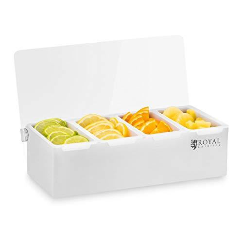 Royal Catering Caja Para Condimentos Condimento Dispensador RCCBP 4 (Acero inoxidable, 4 envases, Capacidad por envase: 450 ml, Cubierta de Polipropileno, 31 x 15 x 8,8 cm)