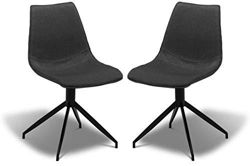 Ibbe Design zestaw 2 krzeseł do jadalni, kolor szary, skandynawski, industrialny, krzesło obrotowe, tapicerowane Jonas, do 150 kg, czarny stelaż metalowy, dł. 48 x szer. 57 x wys. 85 cm