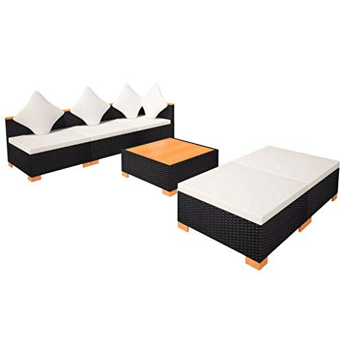 vidaXL Gartenmöbel 6-TLG. Poly Rattan Schwarz Sitzgruppe Lounge Gartenset Sofa - 8
