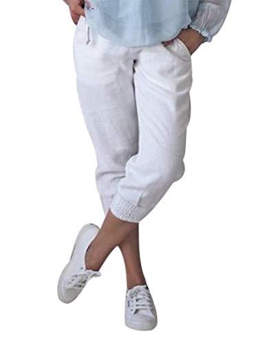 Onsoyours Damen Baumwolle Leinen Capri Hose Sommer Leicht 3/4 Länge Kurze Chino Hose Lässig Einfarbig Strandshorts Stoffhose Freizeithose Baggy Weiß Large
