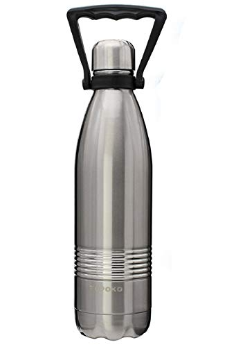 TOPOKO 25 OZ Cola Style Double Wall Stainless Steel Water Bottle Vacuum Insulated Bottle Leak Proof Bottle,BPA Free with Handle (Silver)