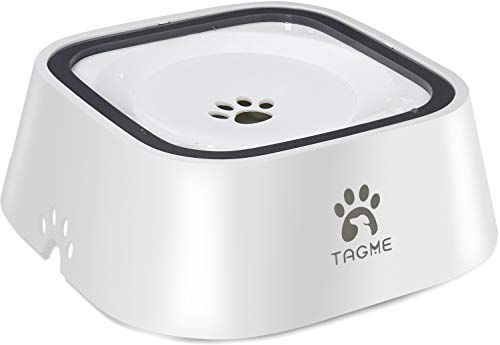 TagME Dog Dripless Water Bowl, Anti-Splash Pet Bowls, Eco-Friendly Material, Vehicle Carried Travel Water Bowls, Healthy & Dishwasher Safe,35 OZ White