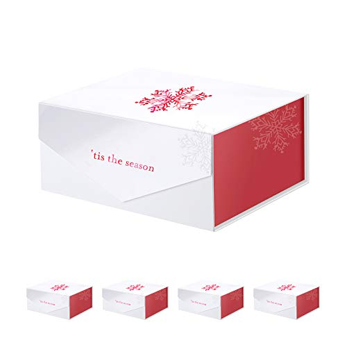 PACKHOME 5 Gift Boxes with Lids 9.5x7x4 Inches, Rectangle Collapsible Boxes with Magnetic Lids for Gift Packaging (Red Snowflake Pattern)