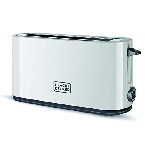 Black+Decker BXTO1001E - Tostadora de 1000 W, ranura extra grande, 7 niveles de tostado, extra elevación, blanco