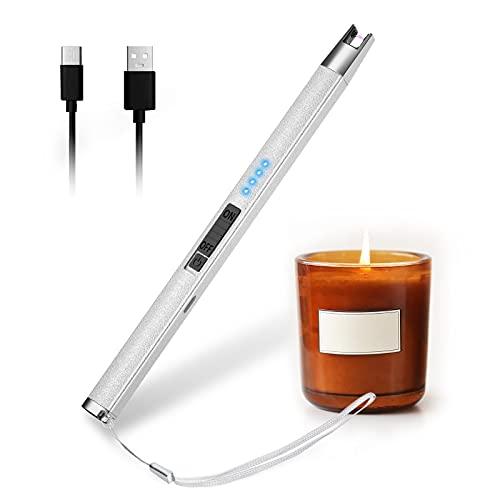 HOTERB Accendino Elettrico USB-C,Arco Elettrico con Cordino Accendigas Elettrico Cucina Ricaricabile,Indicatore LED della Batteria Antivento Senza Fiamma Accendino per Accendere Candele,Stufe,Barbecu