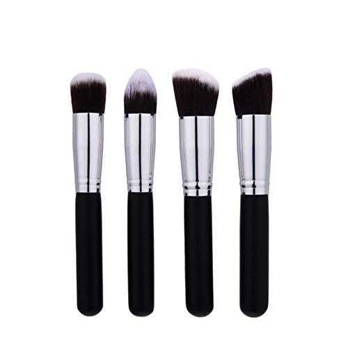 ASDFG Pinceaux de Maquillage Set Powder Foundation Ombre à paupières Lèvre Beauté Maquillage Brosses Cosmétiques 10/4 / 1pcs, Noir Argent 4pcs