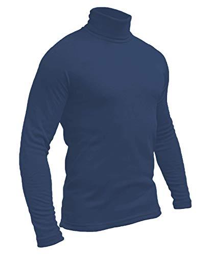 Hann Brooks Polo de golf à col roulé en coton doux pour homme, noir, marron, bordeaux, gris, vert, bleu marine, blanc S M L XL 2XL 3XL 4XL - Bleu - Medium