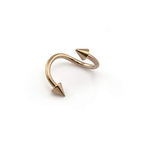 Vault 101 Limited 18k Rosegold Spirale Drehung Bauch Stange Helix Tragus Piercing Augenbraue Nabel Stab mit Kugeln oder Kegel - 1.0mm x 8mm x 2.5mm (Kegel)