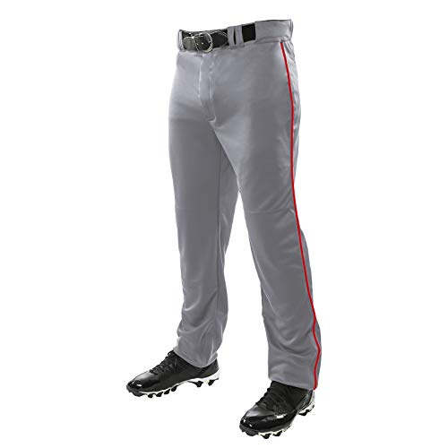 Champro Sports Adult Triple Crown Open Bottom Pants, Grey, Scarlet Piping, Small