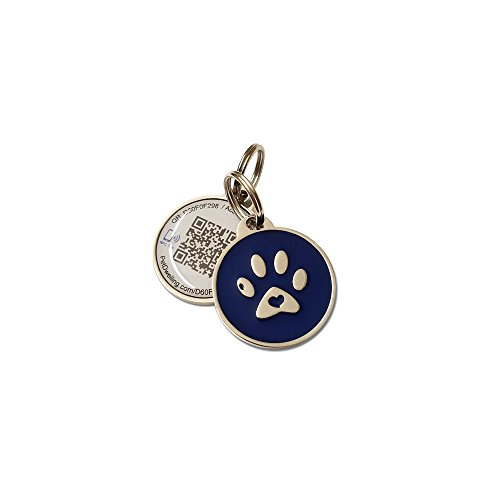 PetDwelling Smart Touch Blue Paw NFC/QR Code Pet ID Tag Links to Online Profile/Emergency Contact/Medical Info/Google Map Location Stamp