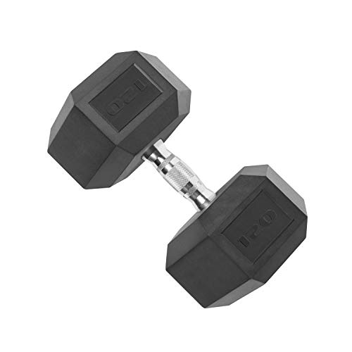 Cap Barbell Rubber Coated Hex Dumbbell with Contoured Chrome Handle (65-Pound)