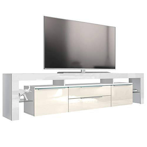 Vladon TV Board Lowboard Lima Nova V2, Korpus in Weiß matt/Front in Creme Hochglanz