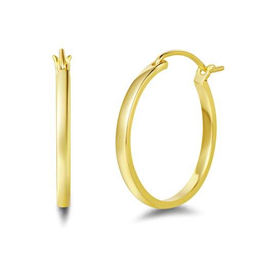 Pendientes de Aro Medio Ronda para Mujer de Cobre con Chapado en Oro Amarillo Círculo Aretes Pendientes Hoops - Diámetro: 25 mm