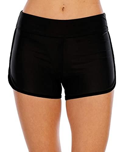 Halcurt Short de bain pour femme - Protection UV, Noir , XL