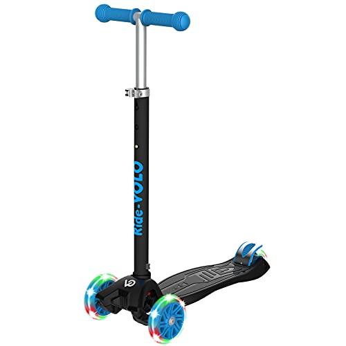 RideVOLO Kick Scooter, Kick Scooter, For Kids, Tricycles, 3 Levels of Height Adjustment, Illuminated LED Tires, Load Capacity 110.2 lbs (50 kg), Suitable for Outdoor Activities, Stable, Black