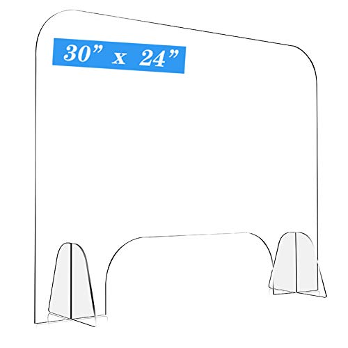 AUGNORYE 30' W x 24'H Sneeze Guard for Desk- Plexiglass Shield for Desk Counter with Transaction Window