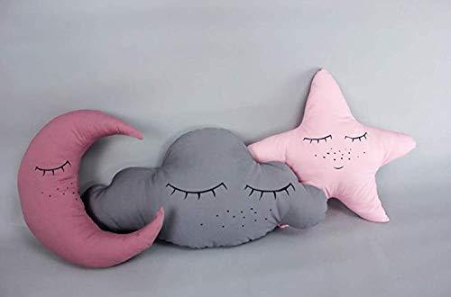 Kissenset *schlaf schön* rosa, schlafende Wolke Stern & Mond, Baumwolle, Babyzimmer Deko, rosa, deutsche Handarbeit