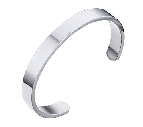 HIJONES Unisex Edelstahl Silber Armreif Armbänder für Damen und Herren Breite 8mm