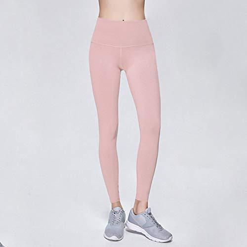 FGJHGH Damen Lederhose Yoga Pants Damen High Waist Stretch Enge Laufhose Schnell Trocknend AtmungsaktivSport Damen Fitness Nahtlose Leggings, Zartes Puder, M