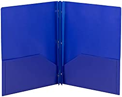 Smead Poly Two-Pocket Folder, Three-Hole Punch Prong Fasteners, Letter Size, Blue, 3 per Pack (87731)