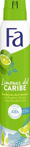 Fa - Desodorante Spray Limones del Caribe - 48h de protección - 200ml - Anti Manchas Blancas