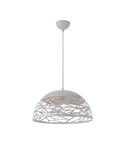 Vetrineinrete® Lampadario a sospensione da soffitto con paralume in metallo traforato design contemporaneo moderno lampada da soffitto (Bianco) Z69