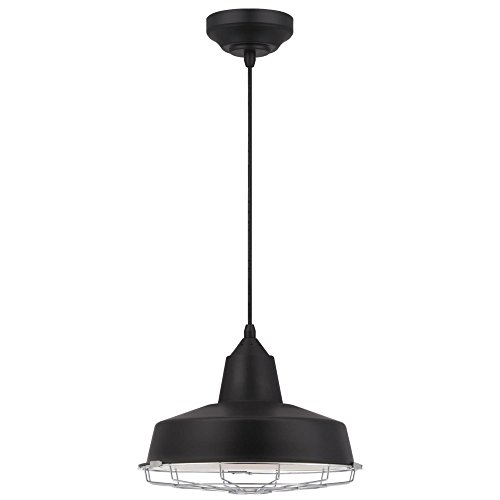 Westinghouse Lighting 6401000 Academy One-Light LED Indoor Pendant, Black Finish with Chrome Cage
