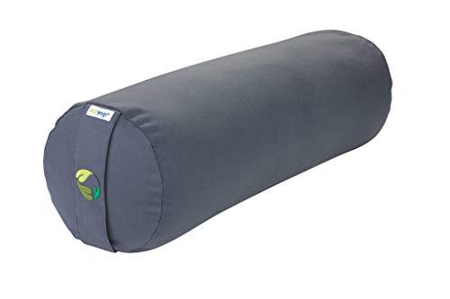 Ecoyogi Bolster – Yoga- & Pilates-Kissen viele Farben – aus Zertifizierter Bio-Baumwolle – kompakter Nackenschoner - 60x20 cm (Hellgrau)
