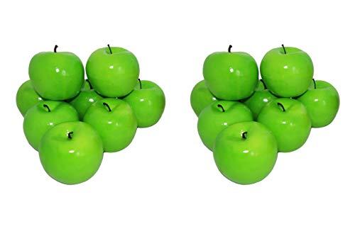 rukauf 16x Deko Äpfel Apfel GRÜN Kunstobst Kunstgemüse künstliches Obst Gemüse Früchte Dekoration
