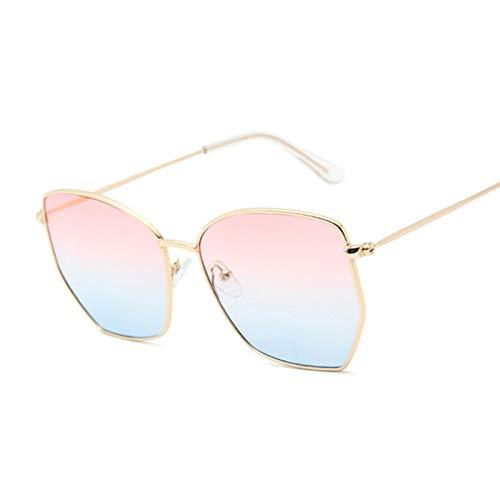 NJJX Gafas De Sol De Ojo De Gato Para Mujer, Gafas De Sol De Metal Vintage Para Mujer, Montura Grande, Espejo Degradado, Rosa, Azul