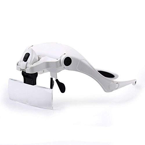 Lupa de iluminação portátil HD para leitura do homem idoso luminosa HD, ampliação múltipla, identificação de joias, relógios, artesanato faça-você-mesmo esculpido e reparo, (1 a 3,5 X) branco