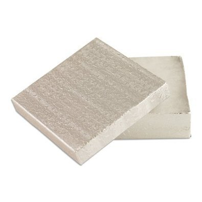 12 Pack Cotton Filled Silver Paper Cardboard Jewelry Gift and Retail Boxes 3.5 x 3.5 x 1 inches Size by R J Displays