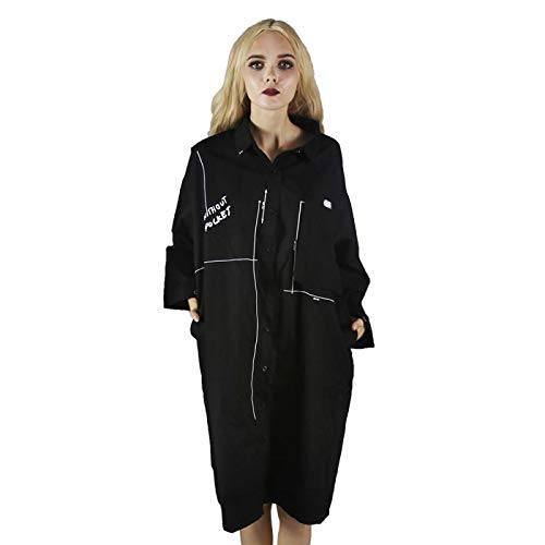 stalen meester Punk Fashion Street slijtage zwart lang shirt tiener meisjes, casual chique outdoor over size sexy coole tuniek vrouwen, losse hiphop rechte tops met zak dames