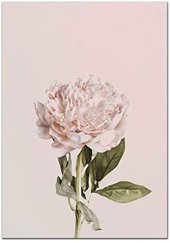 Surfilter Druck auf Leinwand Blasse Pfingstrose Poster Blume Leinwand Malerei Nordic Wandkunst Druck Modernes Bild Für Wohnzimmer Wohnkultur 15.7& rdquo; x 19.6& rdquo; (40x50cm) Kein Rahmen 2