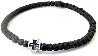Handmade Christian Orthodox Komboskoini, Prayer Rope Bracelet Black - 5607